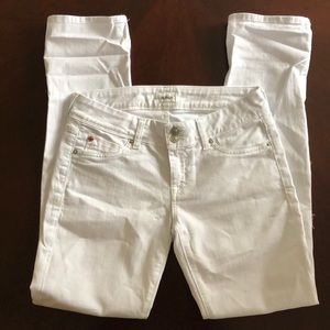 Hudson Crop Ginny Straight with Cuff White Jeans